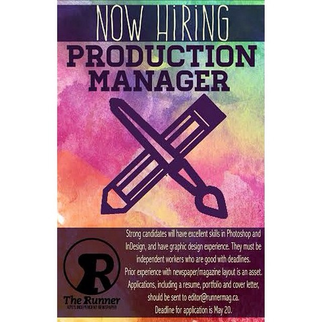 We are now hiring a production manager. Applicants should have…