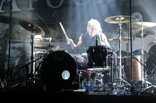 Drummer Mikko Sirén pounds away during Apocalyptica's set at the Commodore Ballroom. JACOB ZINN/THE RUNNER