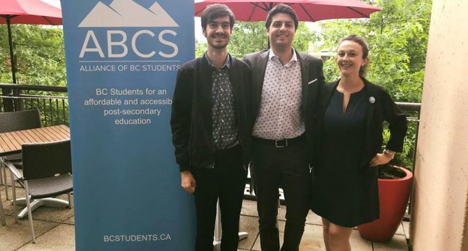 Newly elected ABCS members Joseph Thorpe, Director of Finance and Operations, Noah Berson, Chairperson, and Caitlin McCutchen, Director of Research and Campaigns. (ABCS)