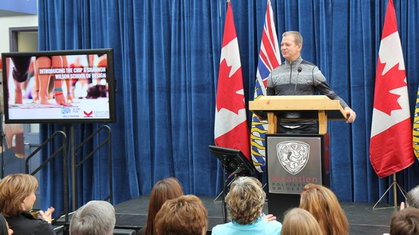 Lululemon founder Chip Wilson announces the creation of the Chip and Shannon Wilson School of Design at Kwantlen Polytechnic University. (Photo courtesy BC government)