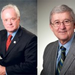 The transition from former Kwantlen president John McKendry (right) to current president Alan Davis (left) has led in a shift in the university's position on the controversial Access Copyright agreement. (Photos courtesy Kwantlen)