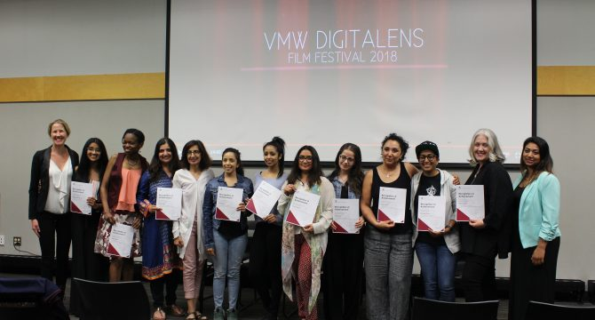 Following the Voices of Muslim Women DigitaLENS Film Festival, students of KPU's Digital Storytelling Course were awarded with recognition of achievement certificates by instructors Katie Warfield and Aisha Amijee. (Ashley Hyshka)