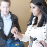 Justine Franson leaves the Aug. 3 Kwantlen Student Association council meeting.