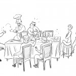 This is a pencilled illustration of characters, in a comic-style fashion, having dinner at a table.