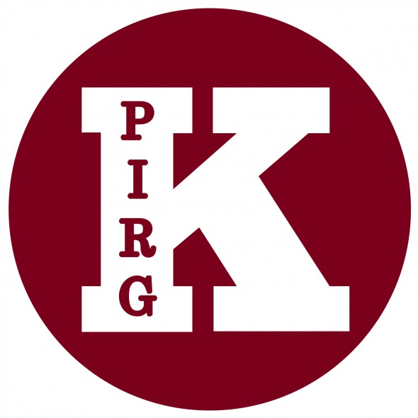 The Kwantlen Public Interest Research Group's logo, a burgundy circle with K P I R G stylized within.