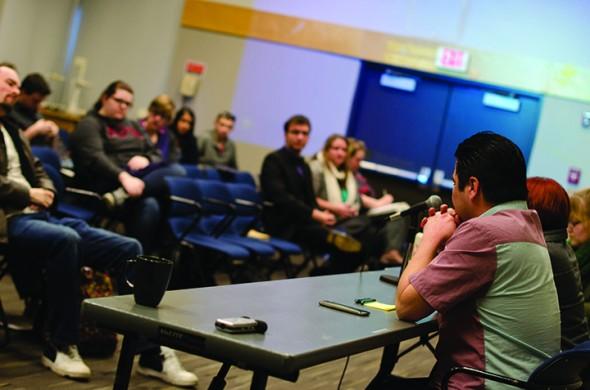 KSA candidates speak during The Runner's 2014 election debates on the Surrey Campus. (Mark Stewart/The Runner)