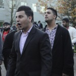 Former Kwantlen Student Association director of operations Nipun Pandey gets involved in a heated exchange with students attempting to oust him from his position in the Cedar building courtyard outside the Nov. 30 special general meeting. (Matt Law/The Runner)