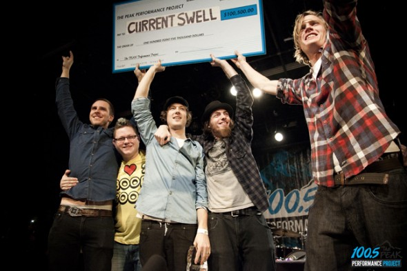 Last year's winners, Current Swell, at the competition finale. (Photo courtesy peakperformanceproject.com)