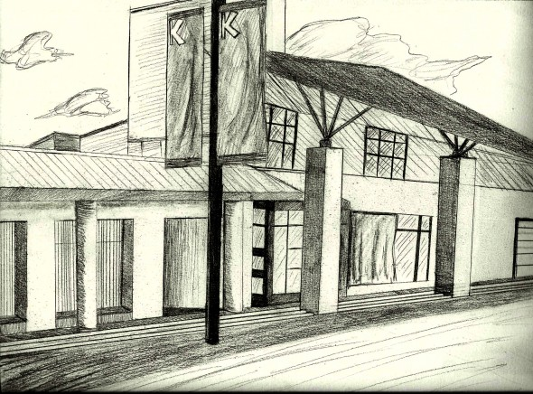 A pencil illustration of Kwantlen Polytechnic University's Langley Campus.
