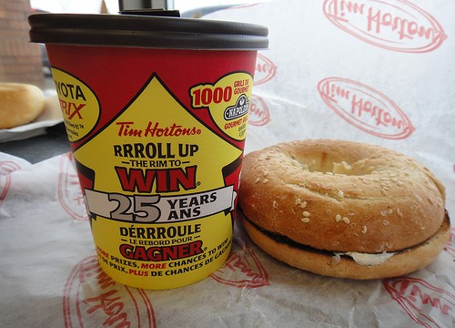 The cheapest option on campus definitely isn't the healthiest, but at Tim Horton's, a bagel and coffee will cost about a third of what it will at Sodexo. Photo: Calgary Reviews/Flickr.
