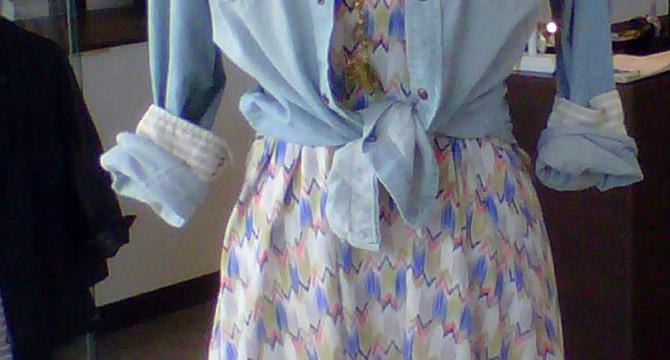 A denim shirt over a cute summer dress is a quick fashion fox when heading to the beach. Photo by Rachelle Nienkaemper.