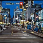 This painting of Nelson and Granville Street is just one of 1,000 images that Vanderhill will share with followers of Illustrated Vancouver. Painting of Nelson &amp; Granville 2009, by Taralee Guild. Used with permission.