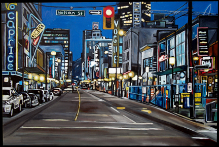 This painting of Nelson and Granville Street is just one of 1,000 images that Vanderhill will share with followers of Illustrated Vancouver. Painting of Nelson & Granville 2009, by Taralee Guild. Used with permission.