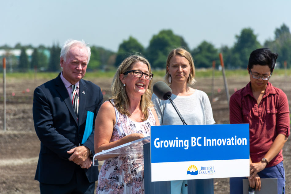 Minister of Agriculture Lana Popham announces new funding being invested in the KPU research farm and seed lab. (flickr/Kwantlen Polytechnic University)