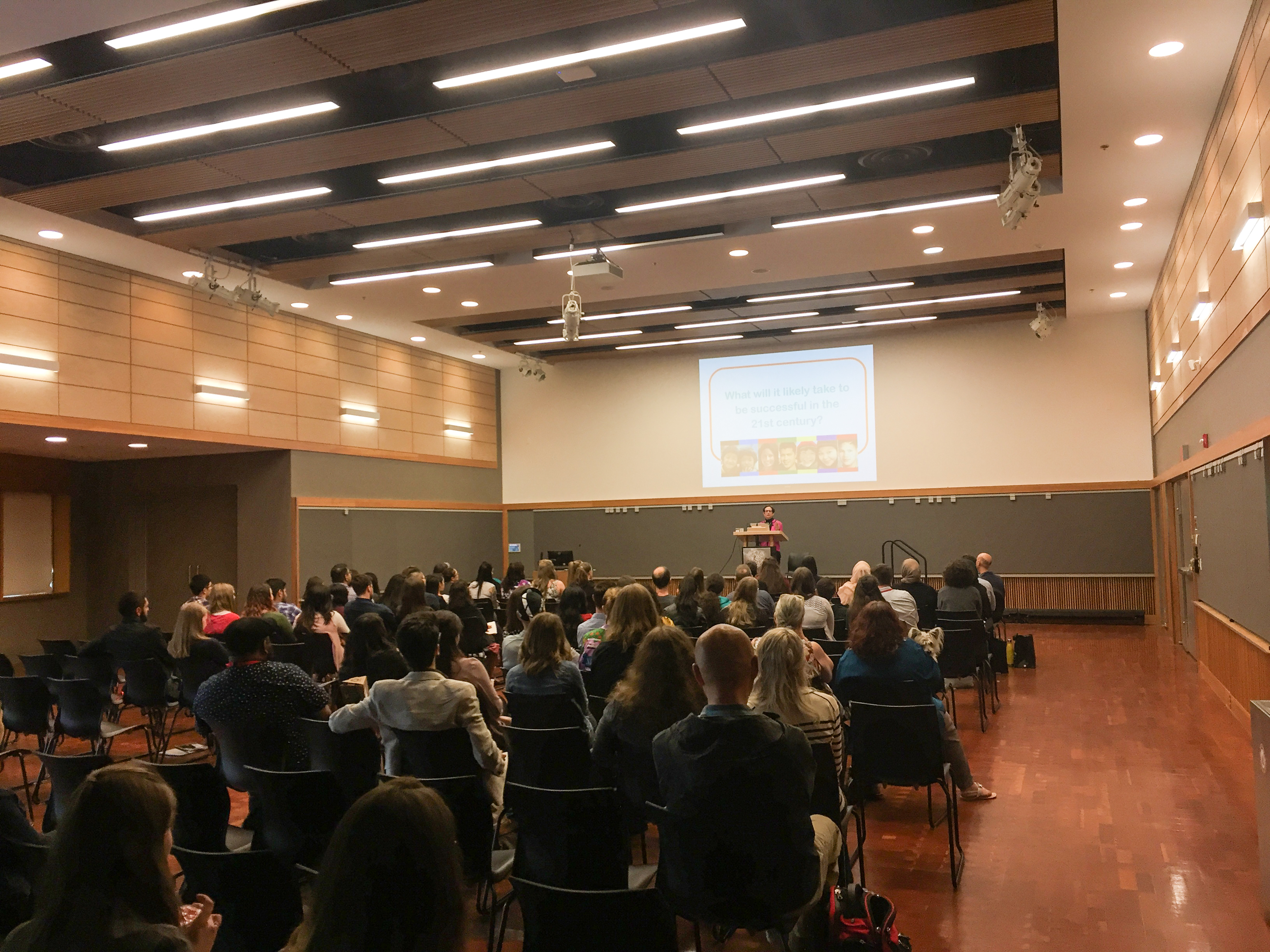 Dr. Adele Diamond addresses the audience during her keynote speech at the end of the Connecting Minds conference. (Lincoln Saugstad)