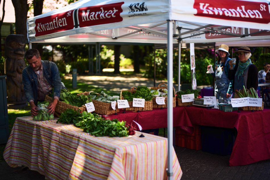 Some of the produce found at the market is grown locally by KPU students in the Sustainable Agriculture program, the sales of which go back into the program. (Tristan Johnston)