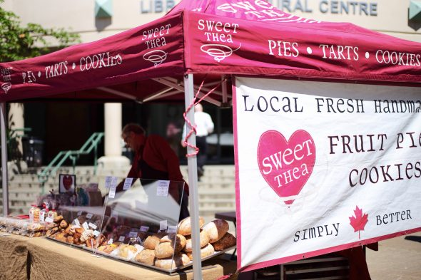 Laurie Mercer came all the way from Langley to sell his baked goods to Richmondites and KPU students. (Tristan Johnston)