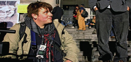 Matthew Van Deventer spent weeks on location at the vancouver Art Gallery during the Occupy Vancouver protest. (Photo courtesy: Rafferty Baker)