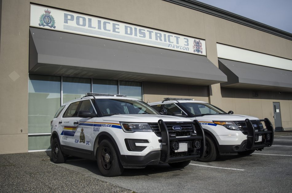 Surrey RCMP cruisers parked outside the District 3 precinct police station in Newton. (Braden Klassen)