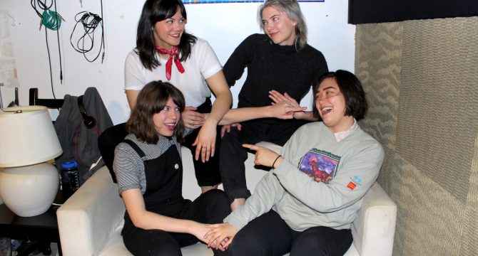 From top left to bottom right: Melissa Kuipers, Hannah Karren, Nada Hayek, and Sonya Rez of Necking in their Vancouver jam space. (Alyssa Laube)