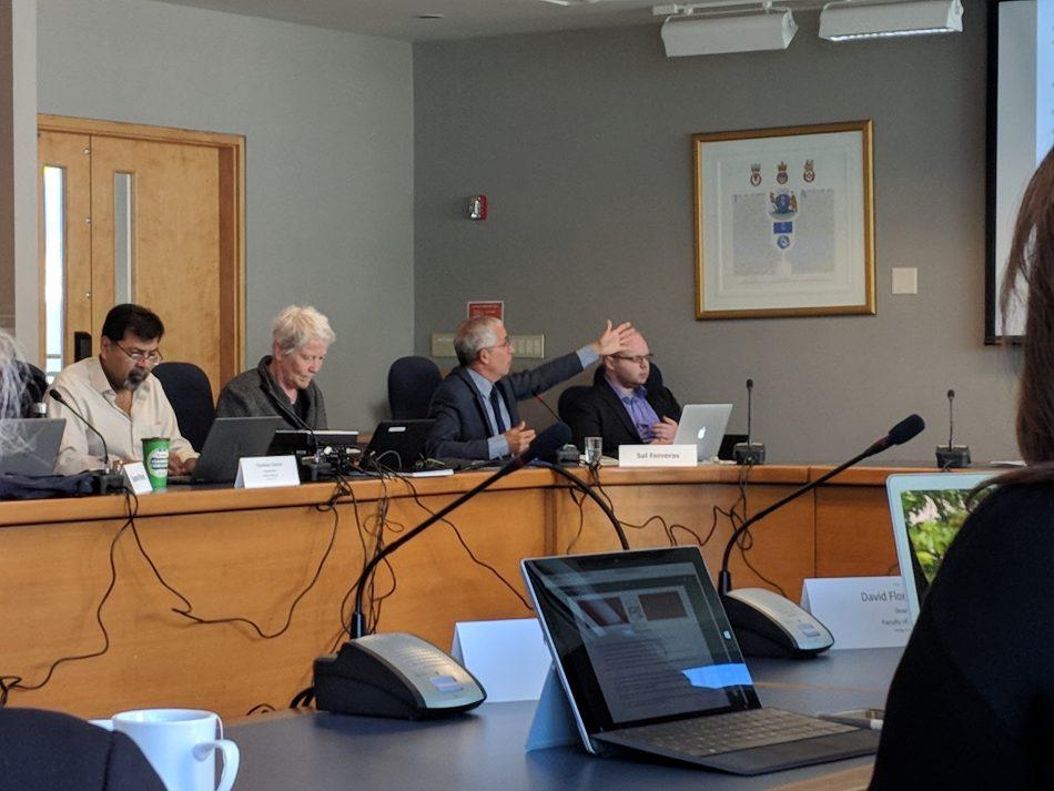 KPU Provost Salvador Ferreras gestures during a presentation of Vision 2023 at a KPU Senate meeting, May 28. (Braden Klassen)