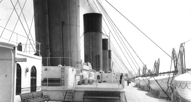 A photo of the second-class deck on display at the Titanic Exhibition. (Titanic: The Artifact Exhibition)